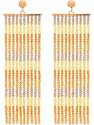 Серьги Les Rideaux с бисером Jacquemus. Цвет: оранжевый