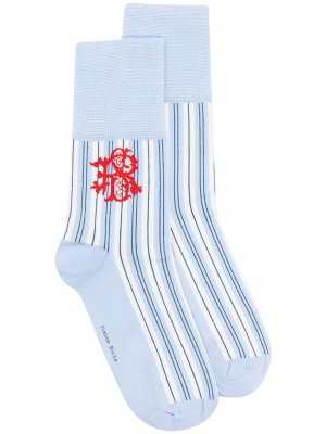 Носки в полоску с монограммой Simone Rocha. Цвет: синий