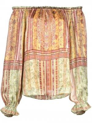 Блузка с открытыми плечами и принтом пейсли Hale Bob. Цвет: желтый