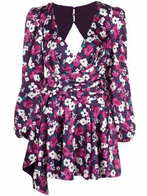 Короткое платье-трапеция с цветочным принтом For Love And Lemons. Цвет: розовый