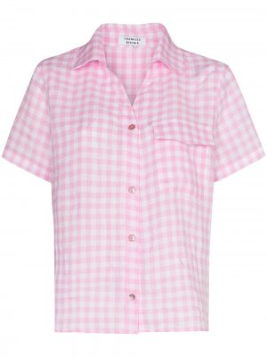 Пижамная рубашка Lou в клетку гингем Frankies Bikinis. Цвет: розовый
