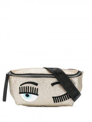 Поясная сумка с блестками Chiara Ferragni. Цвет: золотистый