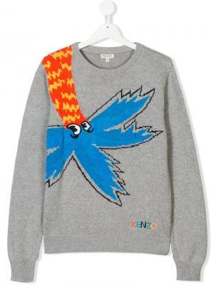 Трикотажный свитер с изображением пальмы Kenzo Kids. Цвет: серый