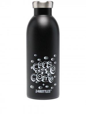 Бутылка для воды с логотипом из коллаборации 24Bottles 10 CORSO COMO. Цвет: черный