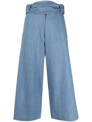 Укороченные брюки широкого кроя Société Anonyme. Цвет: синий