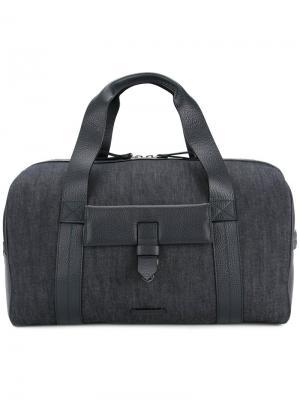 Дорожная сумка с кожаными панелями Cerruti 1881. Цвет: синий