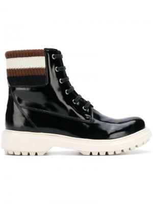 Лакированные ботинки на шнуровке Geox. Цвет: черный