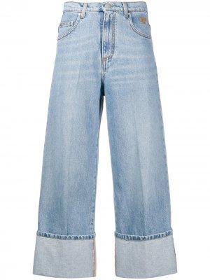 Укороченные джинсы с завышенной талией MSGM. Цвет: синий