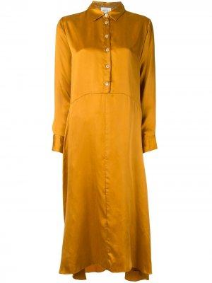 Платье-рубашка мини с драпировкой Forte. Цвет: оранжевый