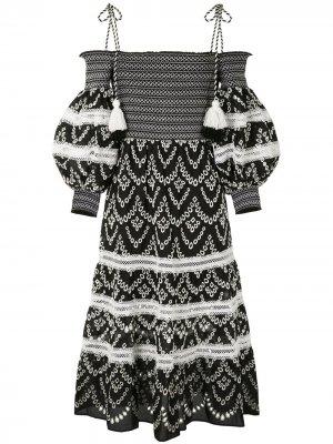 Платье миди Catia с вышивкой Alice+Olivia. Цвет: черный