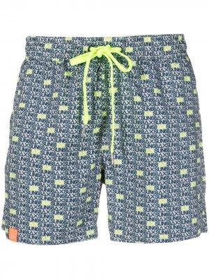 Плавки-шорты с кулиской и логотипом Sun 68. Цвет: серый