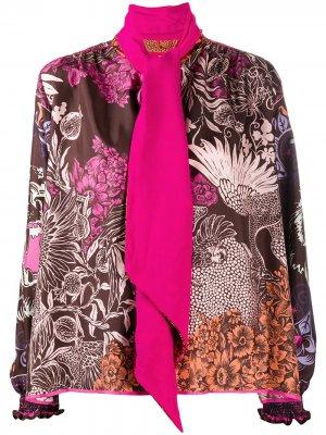 Блузка с бантом F.R.S For Restless Sleepers. Цвет: коричневый