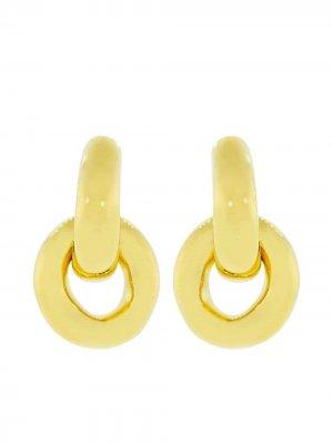 Серьги Mini Link Lizzie Fortunato Jewels. Цвет: золотистый
