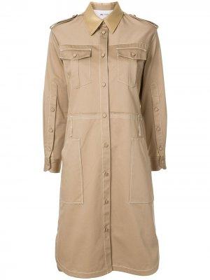 Платье-рубашка в стиле милитари с карманами Ports 1961. Цвет: коричневый