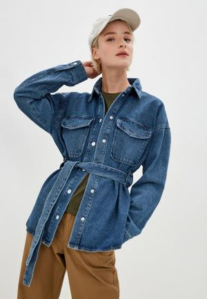 Рубашка джинсовая Noisy May. Цвет: синий