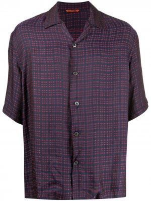 Клетчатая рубашка с короткими рукавами Barena. Цвет: синий