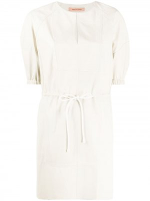 Платье мини с пышными рукавами Yves Salomon. Цвет: нейтральные цвета