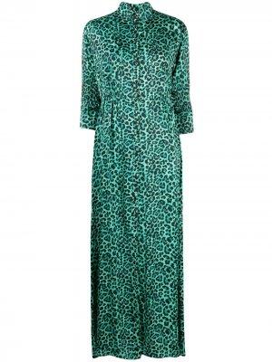 Платье-рубашка с анималистичным принтом Laneus. Цвет: зеленый