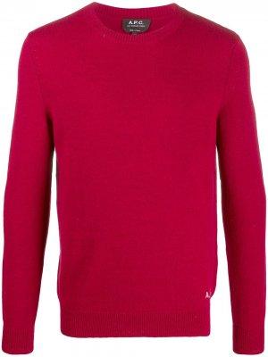 Свитер с вышитым логотипом A.P.C.. Цвет: красный