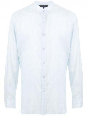 Рубашка с воротником-стойкой Shanghai Tang. Цвет: синий
