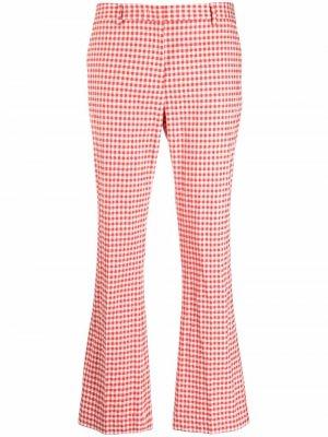 Расклешенные брюки в клетку гингем Pt01. Цвет: красный