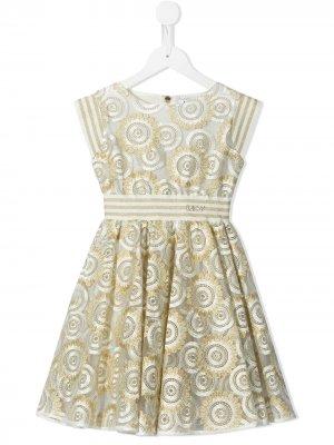 Расклешенное платье с цветочной вышивкой Lesy. Цвет: золотистый