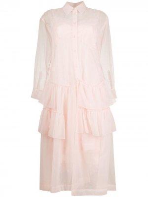 Многослойное платье-рубашка с оборками Simone Rocha. Цвет: розовый
