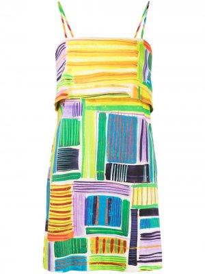 Платье Daphne с абстрактным принтом Alexis. Цвет: разноцветный