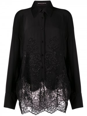 Рубашка оверсайз с кружевными вставками Ermanno Scervino. Цвет: черный