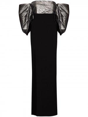 Вечернее платье Luna с открытыми плечами Solace London. Цвет: черный
