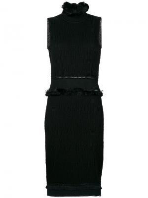 Приталенное платье с бахромой John Galliano Vintage. Цвет: черный