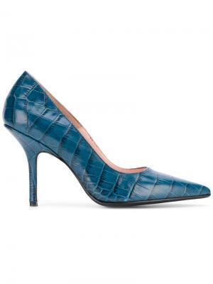 Фактурные туфли-лодочки Anna F.. Цвет: синий