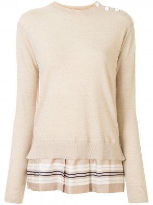 Джемпер с плиссированным подолом Louis Vuitton. Цвет: нейтральные цвета