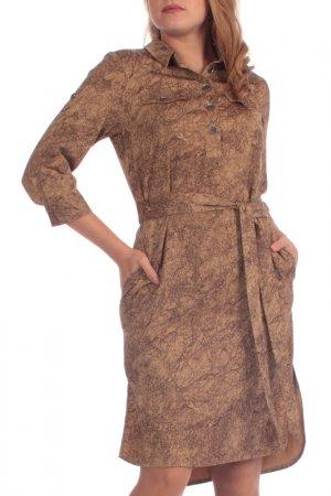 Платье-рубашка Lamiavita. Цвет: коричневый