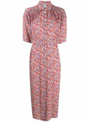 Платье-рубашка с цветочным принтом M Missoni. Цвет: розовый