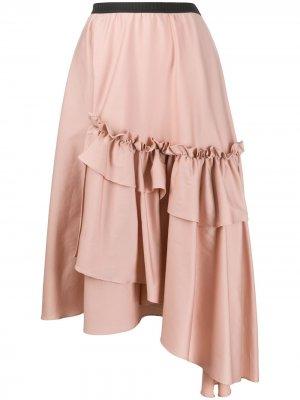 Юбка асимметричного кроя с оборками Antonio Marras. Цвет: розовый