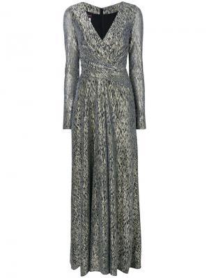 Вечернее платье с длинными рукавами Talbot Runhof. Цвет: металлик