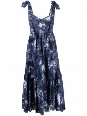 Платье без рукавов с принтом тай-дай LoveShackFancy. Цвет: синий