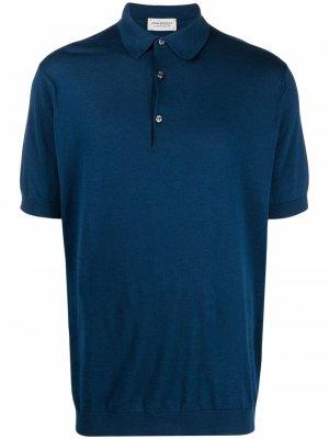 Рубашка поло Adrian в рубчик John Smedley. Цвет: синий
