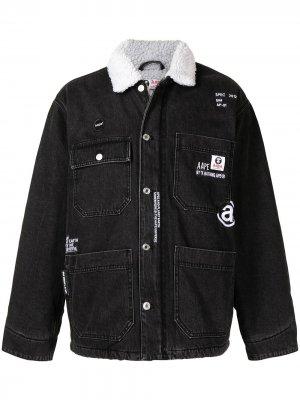 Джинсовая куртка с воротником из шерпы AAPE BY *A BATHING APE®. Цвет: черный