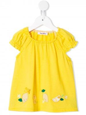 Блузка с короткими рукавами и вышивкой Familiar. Цвет: желтый