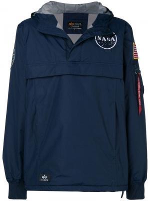 Куртка с капюшоном Nasa Alpha Industries. Цвет: синий
