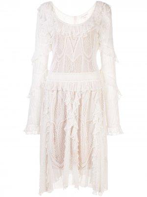 Расклешенное платье с оборками Zuhair Murad. Цвет: белый