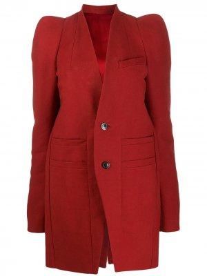 Однобортное пальто Rick Owens. Цвет: красный