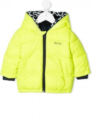 Неоновый пуховик BOSS Kidswear. Цвет: желтый