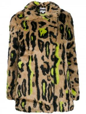 Шуба из искусственного меха с леопардовым узором Apparis. Цвет: нейтральные цвета