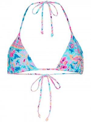 Лиф бикини Tia с треугольными чашками Frankies Bikinis. Цвет: синий