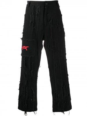 Прямые джинсы с прорезями Salute. Цвет: черный