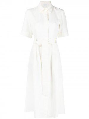 Платье с короткими рукавами и поясом P.A.R.O.S.H.. Цвет: белый