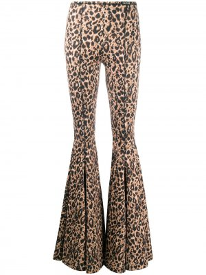 Расклешенные брюки с леопардовым принтом Versace Jeans Couture. Цвет: коричневый